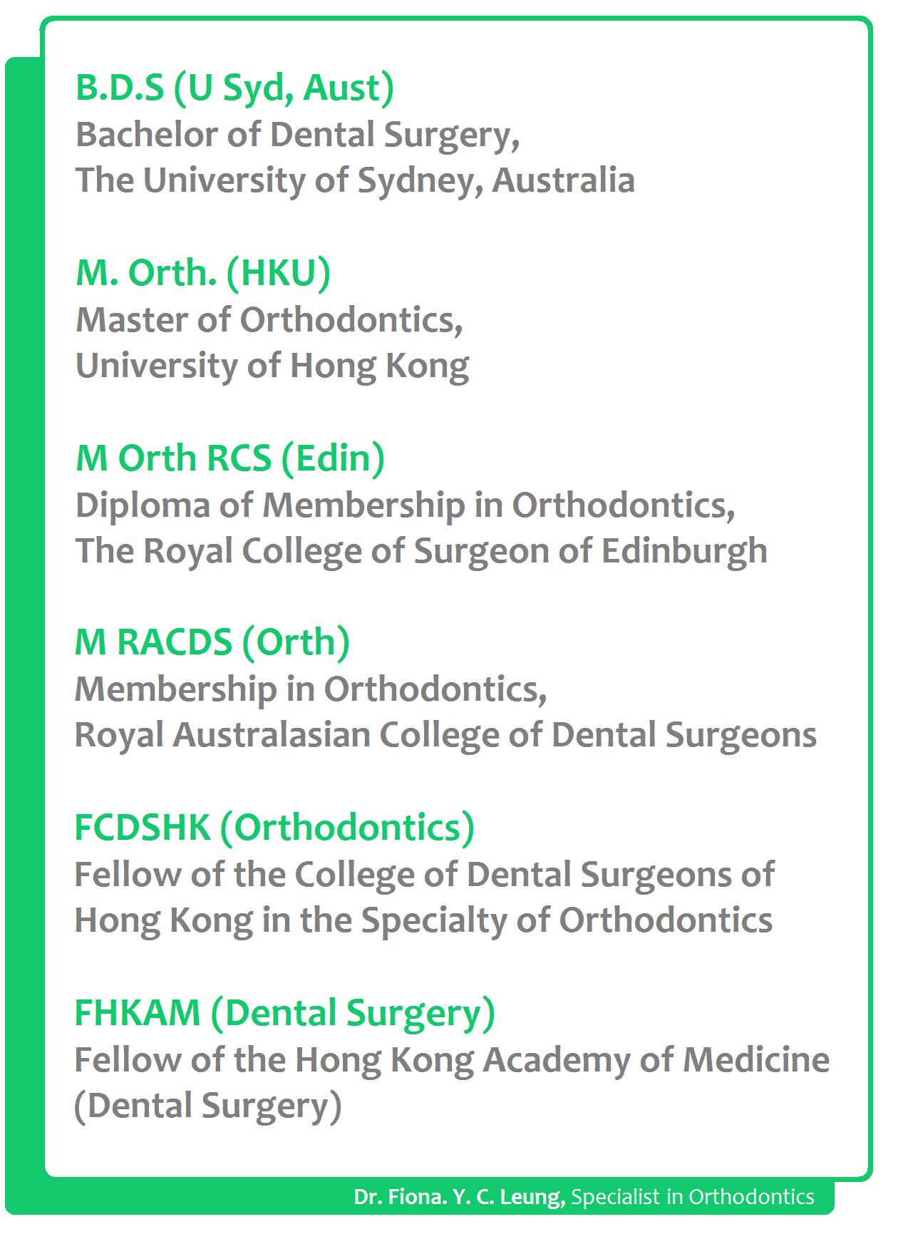 Specialist in Orthodontics-Dr. Fiona Y.C. Leung-Specialist in Orthodontics-braces-Damon-3M smartclip-Invisalign-Incognito